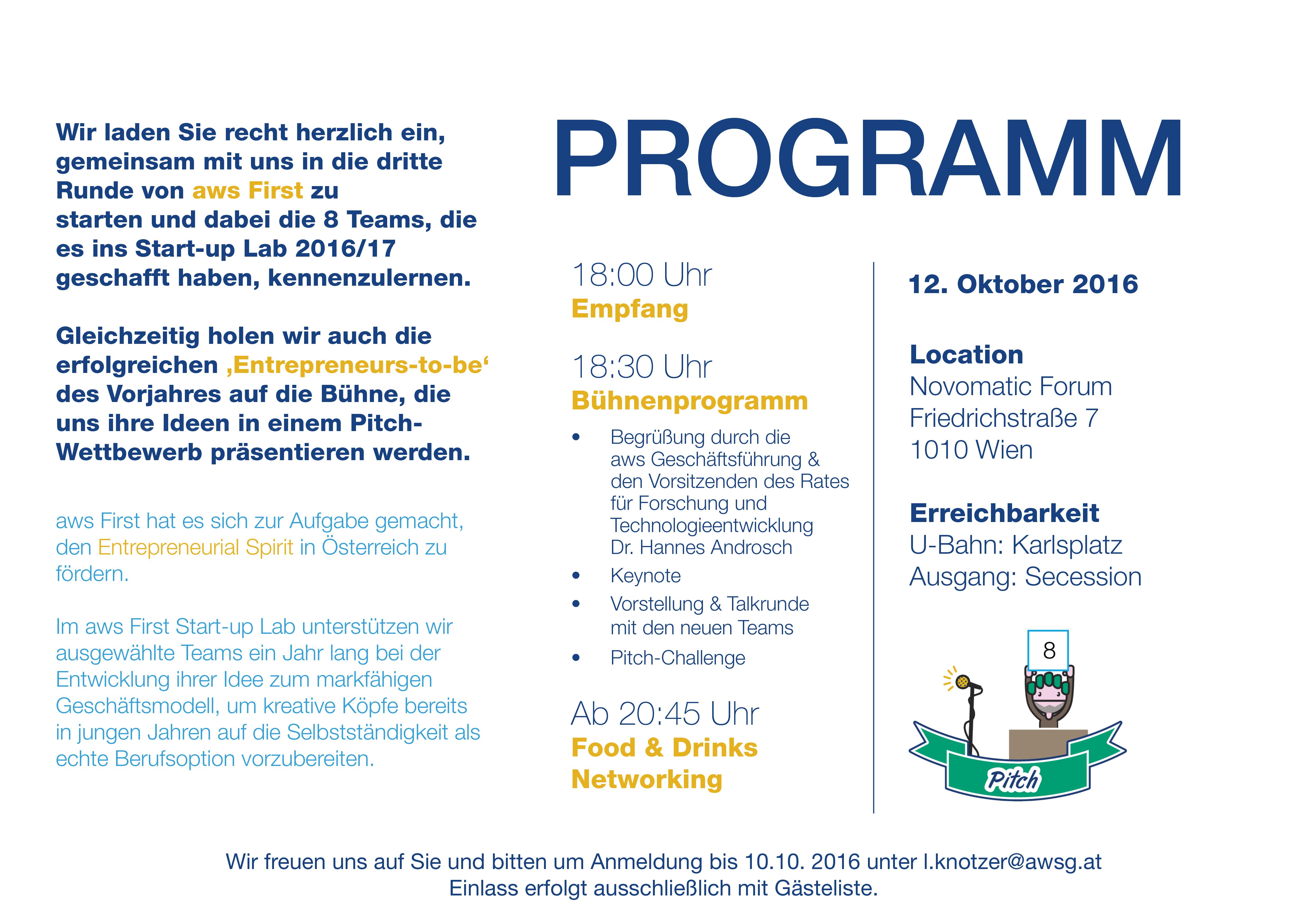 Einladung Aws First Night Austrianstartups Programm Austrianstartups