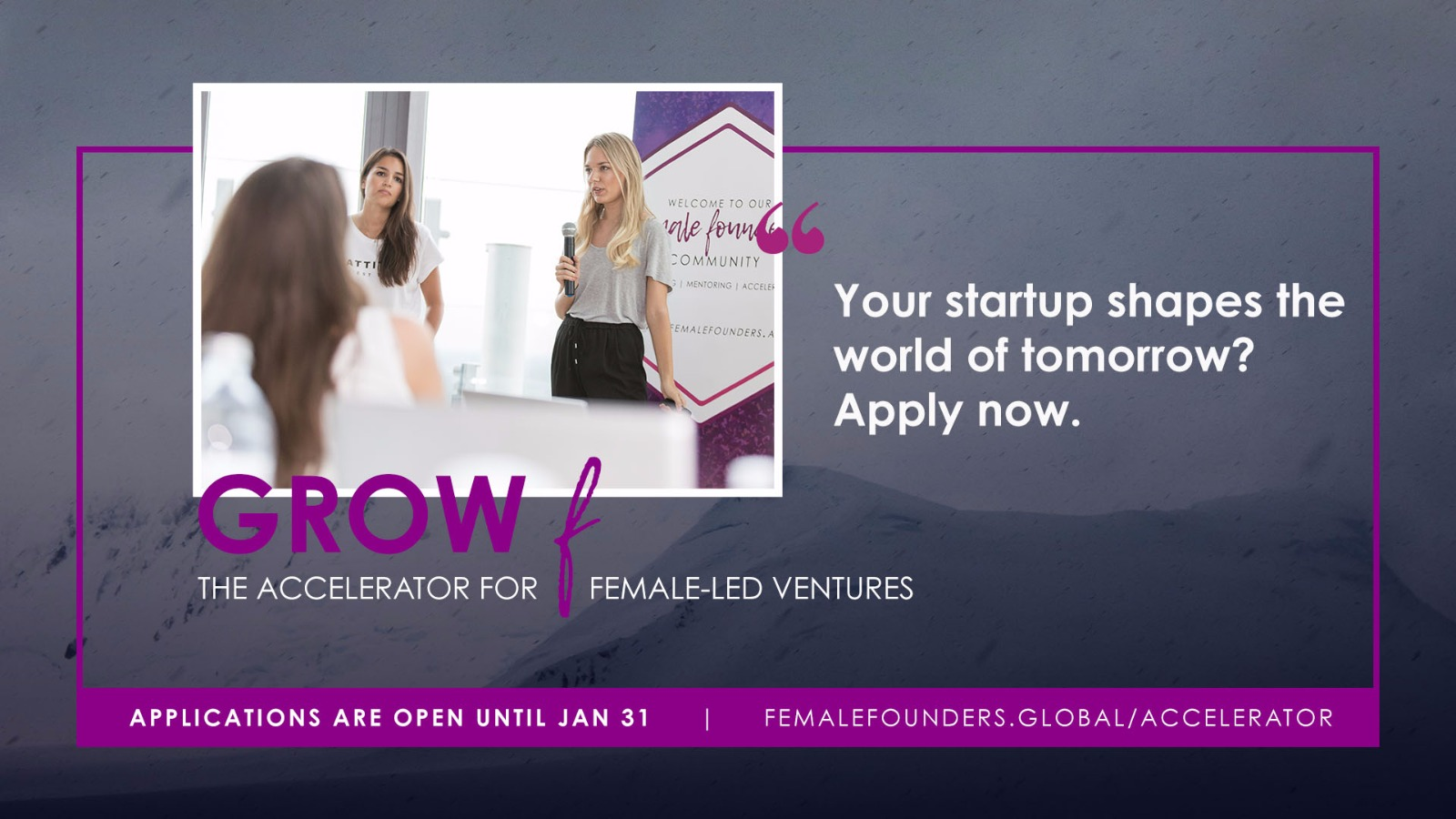 Call: Apply now for Grow F by Female Founders!
